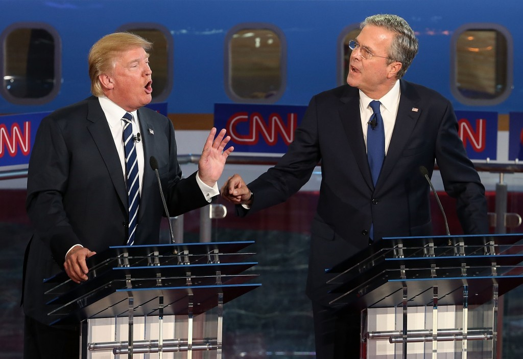 Donald Trump sparring with Jeb Bush