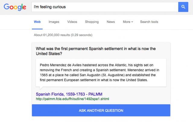 Google Search 'I'm feeling curious'