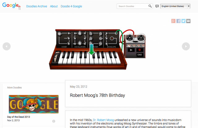 Google Search 'I'm feeling playful' Moog doodle