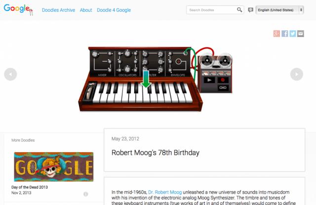 Google Search 'I'm feeling playful' Moog doodle