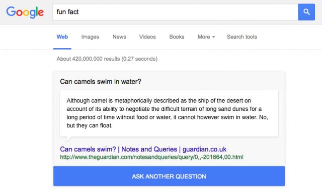 Google Search 'fun fact'