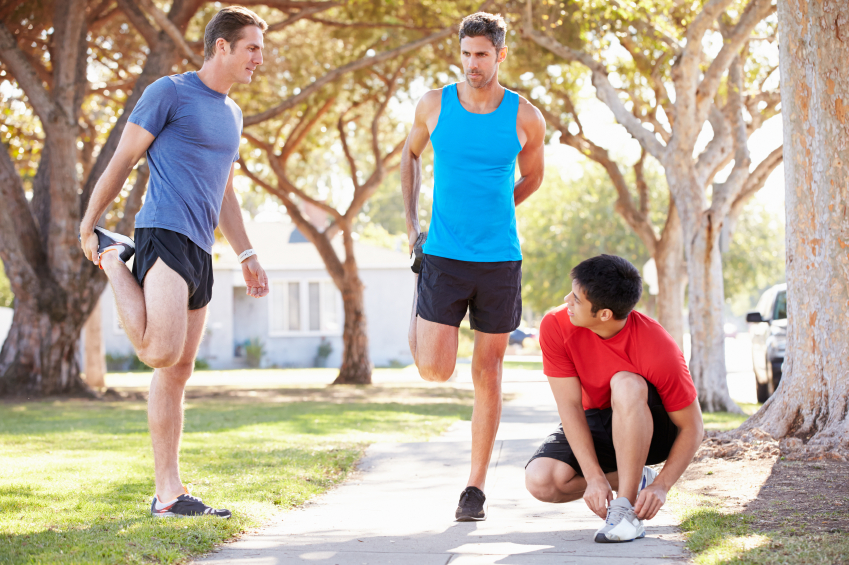 running group, stretching