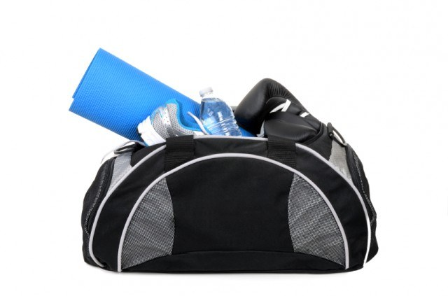 Clothes in a gym bag