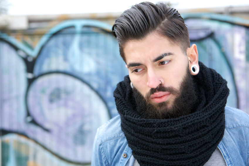 Handsome young man with scarf, style, clothes, apparel