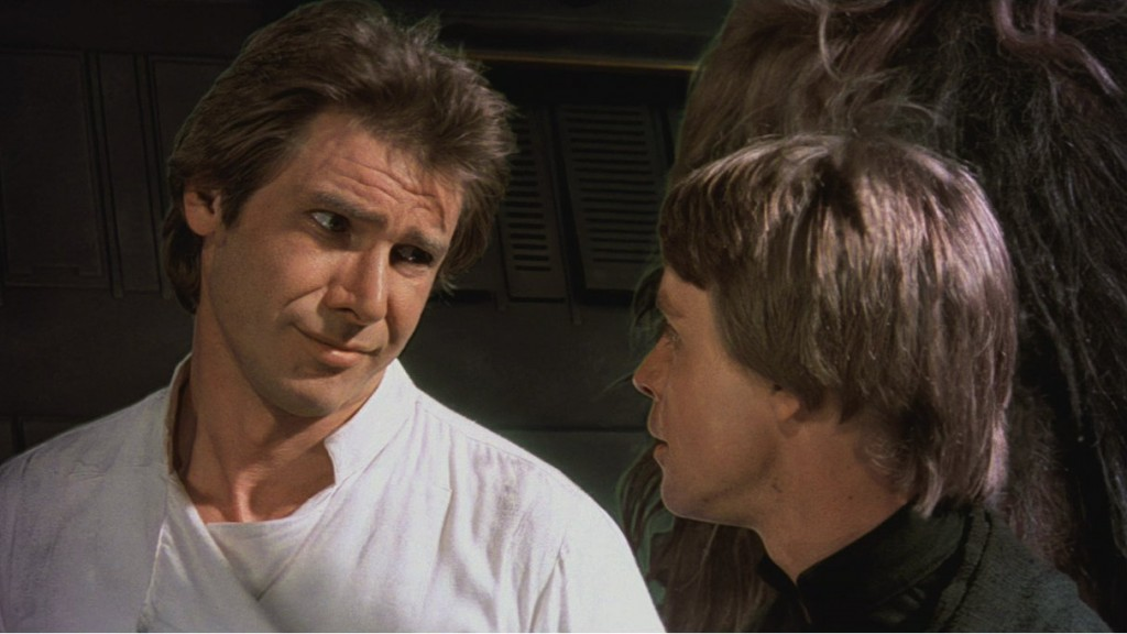Harrison Ford and Mark Hamill in 'Return of the Jedi'