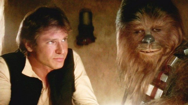 Harrison Ford and Peter Mayhew in 'Star Wars'