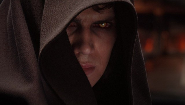 Actor Hayden Christensen looking glum as Anakin