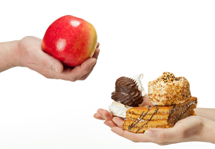 healthy foods and junk food