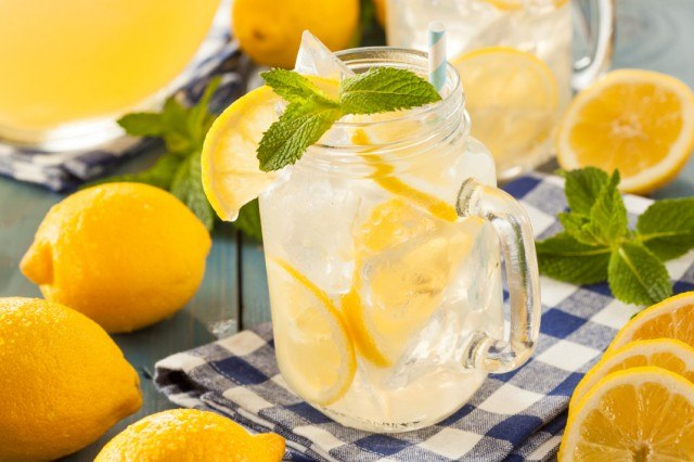 serving or refreshing summer lemonade garnished with mint