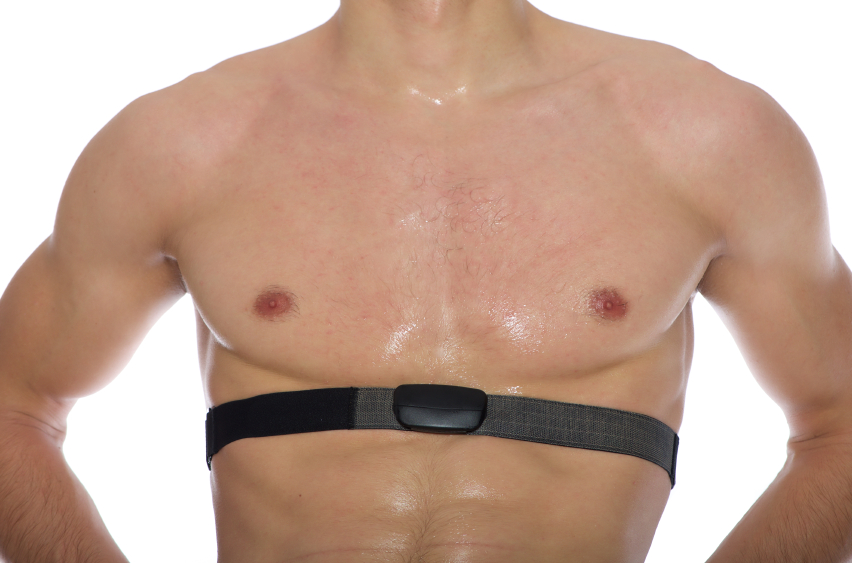 A man with a heart rate monitor