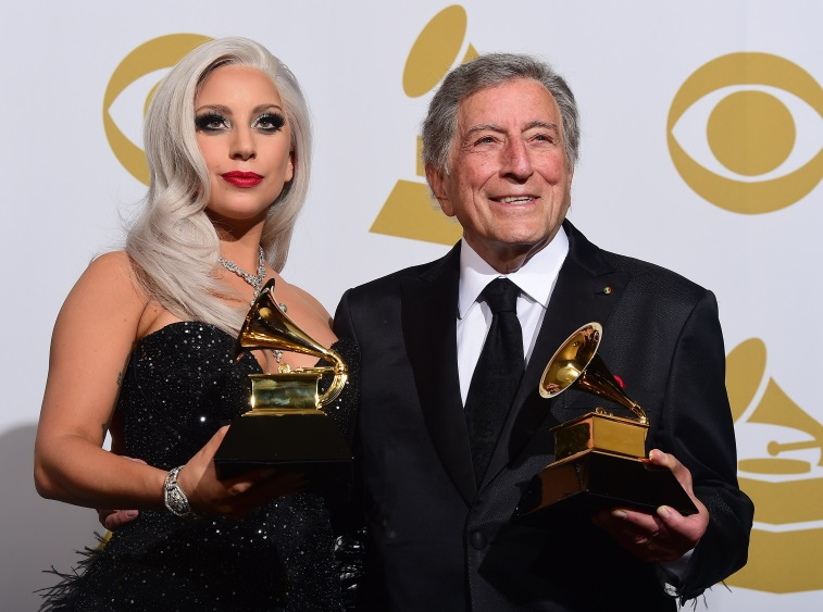 Lady Gaga and Tony Bennett on the red carpet at the grammys.