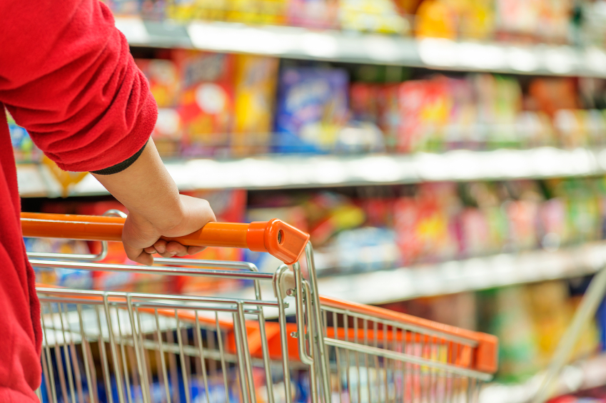 person pushing shopping cart in a store