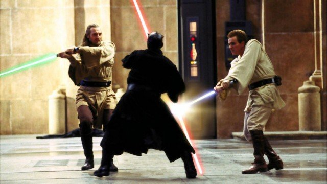 Liam Neeson, Ray Park, and Ewan McGregor in 'The Phantom Menace'