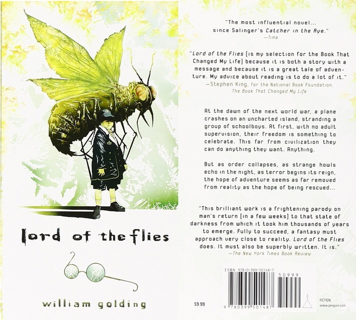 Lord of the Flies cover art, with a giant fly grasping a young boy from above