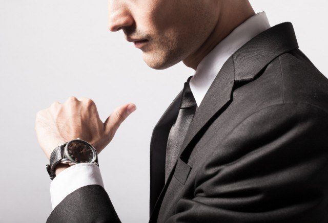 Man wearing a dress watch
