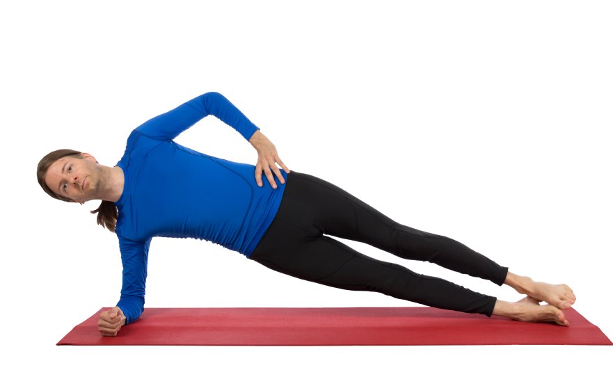 man doing a side plank