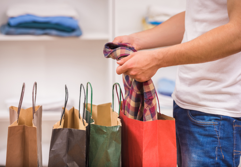 shopping bags and clothes