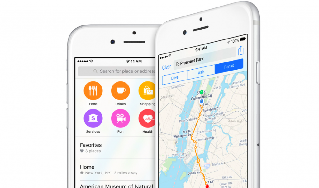 Apple Maps on an iPhone