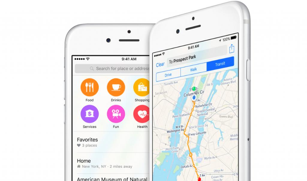 Maps app in iOS 9