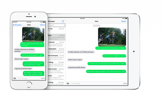 Messages app in iOS 9