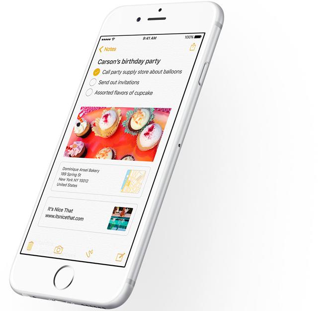 Notes app on iOS 9