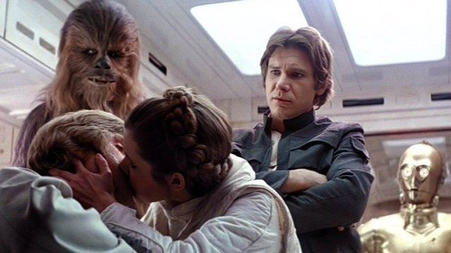 Peter Mayhew, Mark Hamill, Carrie Fisher, Harrison Ford and Anthony Daniels in The Empire Strikes Back