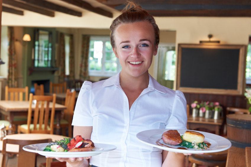 waitress with plates