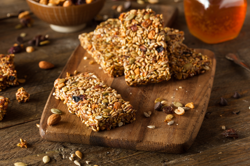 homemade granola bars with dried fruit and nuts