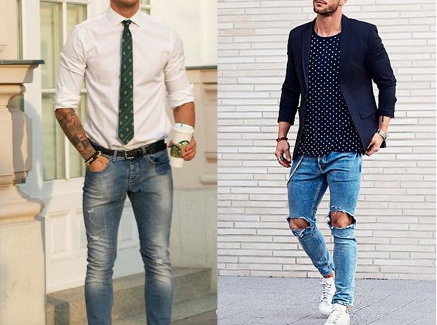 Ripped jeans, distressed denim