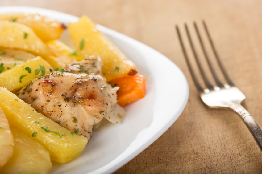 Ginger chicken with peaches