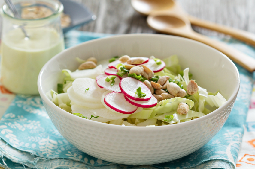 cabbage, radishes, peanuts, slaw, salad