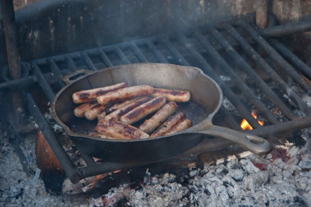 sausage on a camp grill