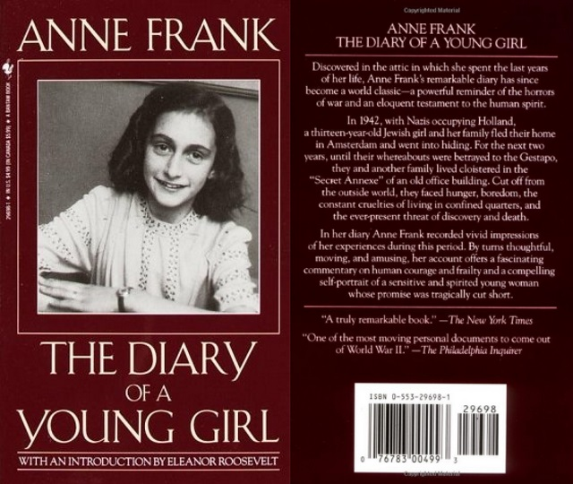 Anne Frank cover art, with the titular young girl smiling in a black and white portrait