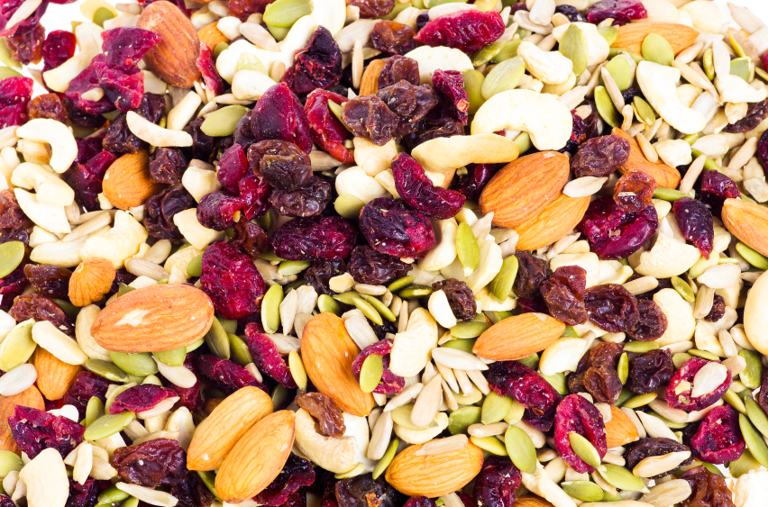 trail mix, nuts, fruit