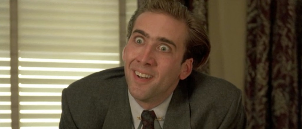 Nicolas Cage looking wide-eyed in Vampire's Kiss