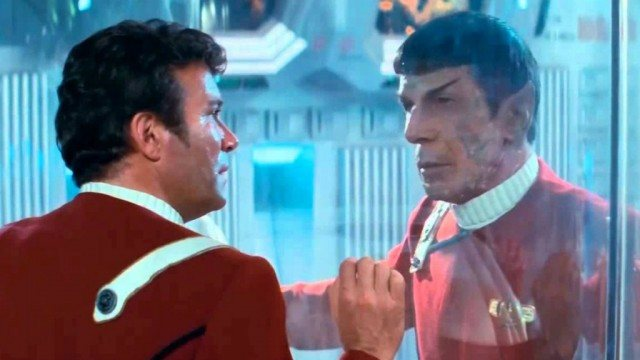William Shatner and Leonard Nimoy in 'Star Trek 2 The Wrath of Khan'