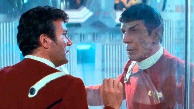 William Shatner and Leonard Nimoy in 'Star Trek 2 The Wrath of Khan'