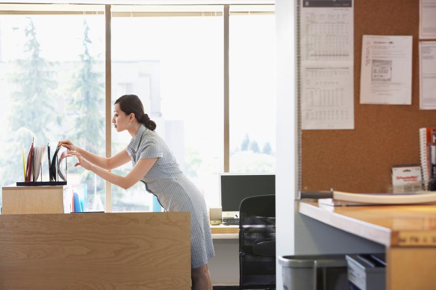 woman checking files