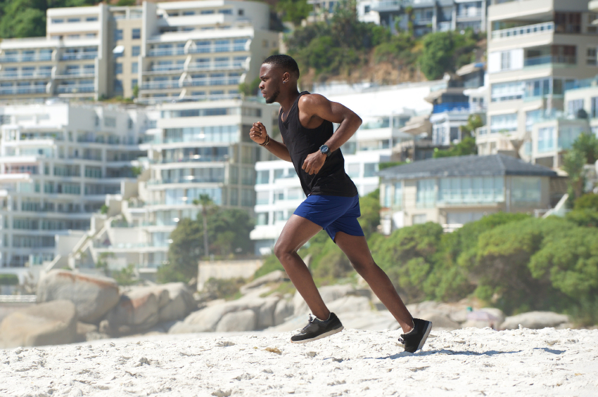 running on the beach, exercise
