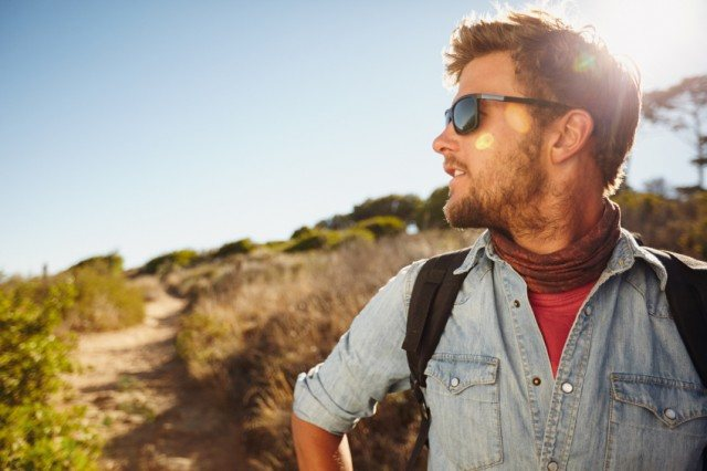 Man hiking in nature