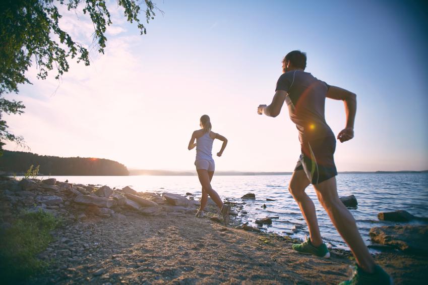 running, beach, morning