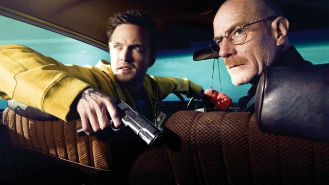 Jesse Pinkman and Walter White in the car with a gun in Breaking Bad