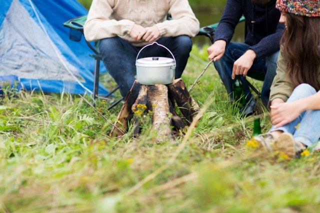 campers around a pot