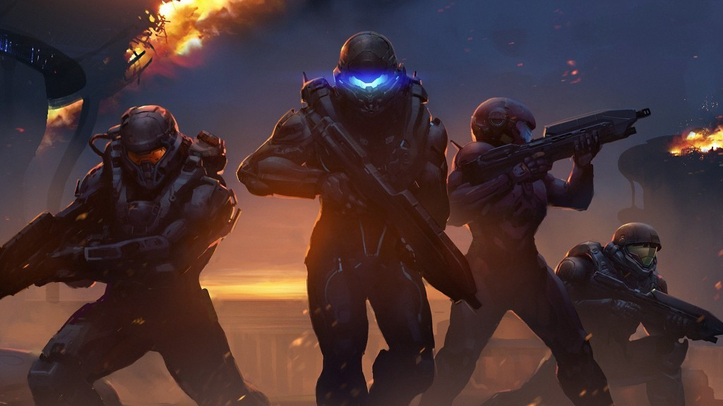 A team of four Spartans stands ready for battle in Halo 5.