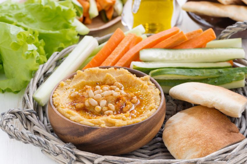 Hummus with pita and veggies