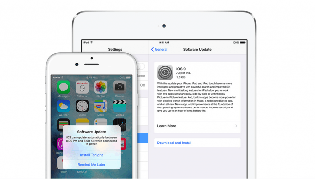 iOS 9 update on iPhone and iPad