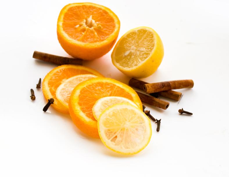 orange, lemon, cinnamon