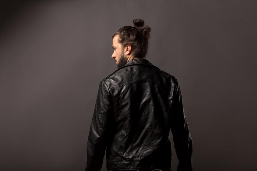 man with beard, leather jacket, clothes, hair, bun