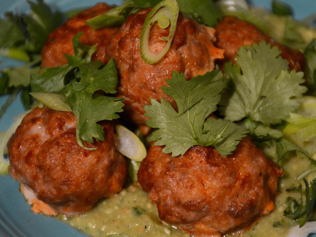 Chorizo Meatballs with Avocado Salsa Verde 1