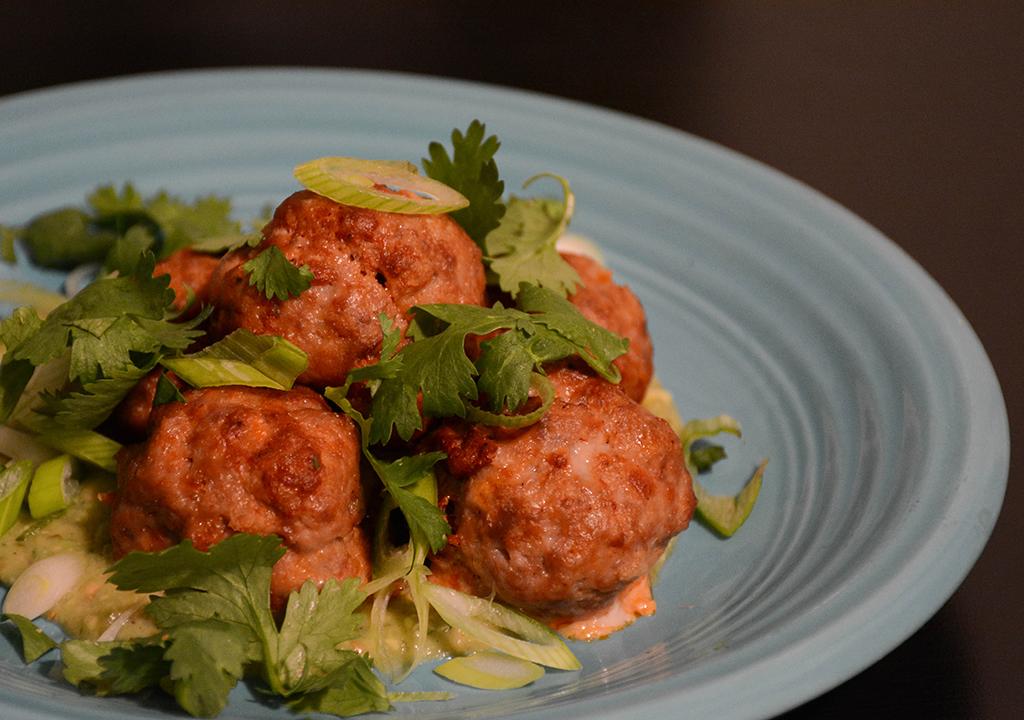 Chorizo Meatballs with Avocado Salsa Verde 2